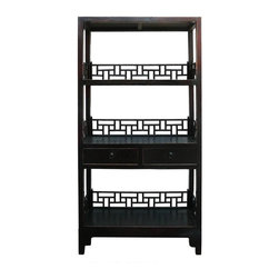 Golden Lotus - Simple Rustic Black Brown Lacquer Display Bookshelf - This is a simple oriental accent bookshelf or display cabinet with three sections. The apron / back panel is in Asian style. The color is a rustic rough finish.