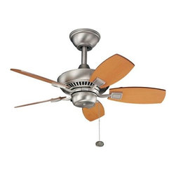"Kichler - Canfield Ceiling Fan by Kichler - Great for a range of spaces, the Kichler Canfield Ceiling Fan features two size options for the more intimate living room (30"") or the regular sized bedroom (44""). Choose from several blade finish combinations. Operates via pull chain; compatible remote controls available.Since 1938, Cleveland-based Kichler Lighting has created exceptional lighting in a variety of styles, finishes, colors and designs. With a diverse collection of indoor and outdoor lighting in classic and contemporary styles, Kichler Lighting always focuses on making home lighting that is both beautiful and functional.The Kichler Canfield Ceiling Fan is available with the following:Details:5 reversible bladesPull chain3 forward/reverse fan speedsRound ceiling canopyOne 6"" downrod (other lengths available; see Related Products)One 78"" lead wireLow ceiling adaptable with included flushmount kitLimited lifetime motor warranty44"" Option is ENERGY STAR Qualified30"" Option is UL Listed for damp locations. Install in protected, fully covered outdoor locations only. More about UL Listings.44"" is UL Listed for indoor locations only. Options:Finish and Blade: Brushed Nickel with Marive Cherry/Maple Blades, Oil Brushed Bronze with Cherry/Walnut blades, or White Powder Coat with White blades.Size: 30 inch, or 44 inch.Shipping:This item usually ships in 3-5 days."
