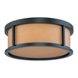 "Aged Bronze Energy Star Flush Ceiling Light With Parchment Glass 17"" - Condition: New - in box"
