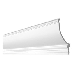 "Inviting Home - Easton Crown Molding for Indirect Lighting - Crown molding for indirect lighting 6-11/16""H x 5-11/16""P x 8-13/16""F molding sold in length of 6'6"" (4 piece minimum required) crown molding specifications: - outstanding quality crown molding made from high density polyurethane and designed specifically for installation with indirect lighting environmentally friendly material is hypoallergenic and fully recyclable no CFC no PVC no formaldehydes - rope or LED lighting can be easily fixed from inside the molding or on the wall behind the molding - front surface of crown molding reinforced with synthetic foil providing extra durable and smooth surface - molding milled on the reverse side for strong adhesive bonding - water and humidity resistant - maximum long term protection against scratches and dents - crown molding is pre-primed with water-based white paint - has tough extremely smooth surface - complimentary flexible molding available - metal dies used for consistent quality and perfect part to part match for hassle free installation; - there is a four piece minimum requirement for this molding purchase; Polyurethane is a high density material--it��s extremely lightweight and easy to install (and comes primed and ready to paint). It is a green material meaning it��s CFC and formaldehyde free. It is also moisture resistant--so it won��t shrink flex or mold. What��s also great about Polyurethane is that it��s completely customizable and can be treated as wood (you can saw it nail it screw it and sand it). In addition our polyurethane material come primed and ready to paint."