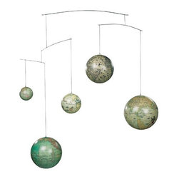 Historical Five Centuries Globe Mobile - For a more modern and scientific take on a nursery mobile, this globe version fits the bill.
