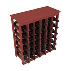 36 Bottle Kitchen Wine Rack in Pine with Cherry Stain - A small wine rack with big storage. This wine rack kit is the best choice for converting tiny spaces into big wine storage. The solid wood top excels as a table for wine accessories, small plants, and wine collectables. Store 3 cases of wine properly in a space smaller than most entry tables!