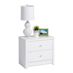 Prepac - Pure White Nolita 2-drawer Nightstand - This chic Nolita nightstand features elegant detailing and sleek modern lines with a pure white finish for a cosmopolitan look. Complete with diamond-cut chrome knobs and two drawers, this attractive end table offers ample storage for your essentials.