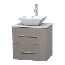 "Wyndham Collection - Centra 24"" Grey Oak Single Vanity, White Man-Made Stone Top,White Porcelain Sink - Simplicity and elegance combine in the perfect lines of the Centra vanity by the Wyndham Collection. If cutting-edge contemporary design is your style then the Centra vanity is for you - modern, chic and built to last a lifetime. Available with green glass, pure white man-made stone, ivory marble or white carrera marble counters, with stunning vessel or undermount sink(s) and matching mirror(s). Featuring soft close door hinges, drawer glides, and meticulously finished with brushed chrome hardware. The attention to detail on this beautiful vanity is second to none."
