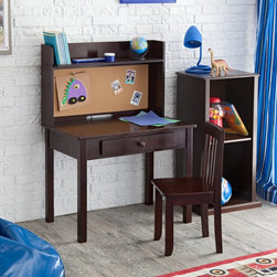 KidKraft Pin Board Desk with Hutch & Chair - This pin board desk with a hutch makes art and study time fun. Kids can store books and toys on the hutch shelf and hang up their artwork on the pin board. Plus, the dark finish is modern and stylish.