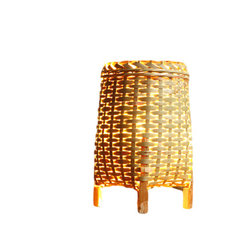Fateday - Bamboo Table Lamp - Small handmade bamboo lamp, for nightstands or tables.