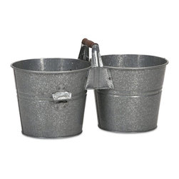 iMax - iMax Galvanized Double Beverage Bucket with Bottle Opener X-23244 - For a quaint drink service, use this double beverage bucket with bottle opener, perfect for a picnic or intimate gathering.