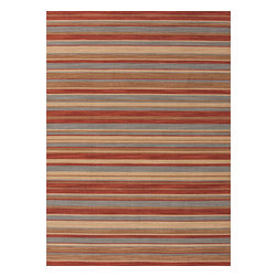 Jaipur Rugs - Flat Weave Stripe Pattern Red /Orange Wool Handmade Rug - PV11, 5x8 - Bold color is the name of the game with Pura Vida. This beautiful collection of durable, reversible flat-woven dhurries combines the classic simplicity of linear patterns with a decidedly modern palette for a look that's at once casual and sophisticated.