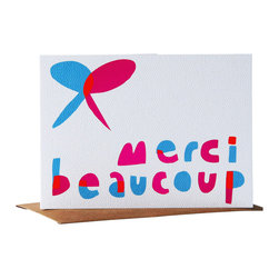 Yellow Owl Workshop - French Merci Beaucoup Card - Printed in San Francisco with veggie-based inks on 100% PCW paper.