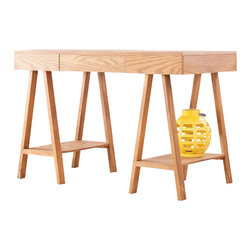 Southern Enterprises - Fairbanks Desk - Enrich your work space with this beautiful oak finish desk. Add this contemporary, architectural piece to your home for a perfectly simple workspace. This desk features a broad writing surface supported by sawhorse style legs. Each of the legs features an open shelf for handy storage or decorative displays. This contemporary desk will work well in any home office, bedroom, or other work area. The architectural design of this desk blends best in homes with transitional to modern decor.