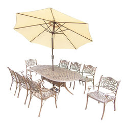 Oakland Living - 11-Pc Traditional Dining Set - Includes table, eight dining chairs, 9 ft. tilt crank umbrella with stand and metal hardware. Handcast. Umbrella hole table top. Fade, chip and crack resistant. Traditional lattice pattern and scroll work. Hardened powder coat. Rust free. Warranty: One year limited. Made from cast aluminum. Antique bronze finish. Minimal assembly required. Table: 84 in. L x 42 in. W x 29 in. H (99 lbs.). Chair: 21.5 in. W x 23 in. D x 34 in. H (27 lbs.)The Oakland Mississippi Collection combines southern style and modern designs giving you a rich addition to any outdoor setting. This dining set is the prefect piece for any outdoor dinner setting. Just the right size for any backyard or patio.