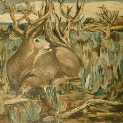 Audrey Mabee, 'Resting Deer' - 1964 unframed, oil on masonite. Please allow additional lead time as this artwork is shipped from Canada (to Seattle), before being shipped to buyer.