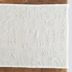 """Coyuchi - Coyuchi Abstract Embroidered Voile White Table Runner - The Coyuchi cotton voile table runner rejuvenates a table with a sheer, fine design. On a white background, handmade, white French knot embroidery offers eclectic, abstract texture. 18""""W x 60""""H; Due to handmade quality, slight variations in fabric may occur; Machine washable"""