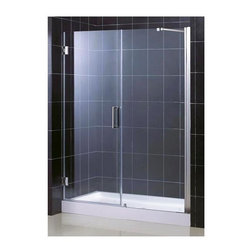 Dreamline - Unidoor Frameless Shower Door w Glass Panel (28 in. Door Opening in Chrome) - Color: 28 in. Door Opening in Chrome. Includes 30 in. stationary glass panel. Base not included. Self-closing solid brass wall mounted hinges. Wall profile adjustable upto 1 in.. Reversible glass door for left or right-wall installations. On-site adjustment for out-of-plumb or general door rough opening upto 1 in.. ANSI certified. Made from 0.38 in. thick clear glass and aluminum. 28 in. door opening: 58 - 59 in. W x 72 in. H. 29 in. door opening: 59 - 60 in. W x 72 in. H. 30 in. door opening: 60 - 61 in. W x 72 in. H. Warranty. Installation Manual. Marketing Brochure. 28 in. Technical Drawing. 29 in. Technical Drawing. 30 in. Technical DrawingUnidoor is the only door you will ever need to complete an unforgettable design of your shower project. The smart design of the adjustable wall profile.
