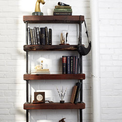 reclaimed wood and pipe shelving unit -