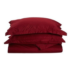 530 Thread Count Egyptian Cotton Full/Queen Burgundy Solid Duvet Cover Set - 530 Thread Count Egyptian Cotton Full/Queen Burgundy Solid Duvet Cover Set
