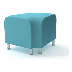Turnstone - Steelcase - Alight Ottoman Corner Aqua - Smooth those edges.