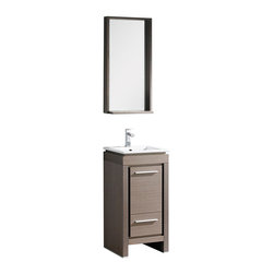 """Fresca - Fresca Allier 16"""" Gray Oak Vanity w/ Mirror - Dimensions of vanity:  15.75""""W x 15.75""""D x 33.5""""H. Dimensions of mirror:  16""""W x 31.5""""H x 5""""D. Materials:  Plywood w/ veneer, ceramic countertop/sink with overflow. Single hole faucet mount. P-trap, faucet, pop-up drain and installation hardware included. This Fresca Allier model is one of the smallest free standing vanities available.  This model is accented nicely with a matching mirror with small shelf."""