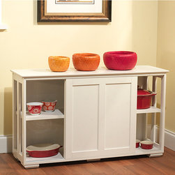 Simple Living - Simple Living Antique White Sliding Door Stackable Cabinet - This cabinet is ideal for extra storage in tight spaces.  The stackable construction makes for a versatile solution for any close quarters.