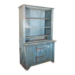 EcoFirstArt - Candid Cupboard - Feature rustic style and New England charm with this stepback cupboard in your kitchen or dining room. This sustainable pine wood cupboard will display your favorite plates on its four upper shelves, and allow you to stow away other serveware in the cabinet beneath. The beautiful, blue-weathered finish of this gorgeous cupboard will bring peacefulness and ease to your decor.