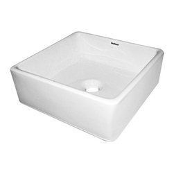 Fine Fixtures - Ceramic White Single-Hole Vessel Sink - This vessel sink features a sleek rectangular shape with modern angles that will add an updated look to any bathroom remodel. With a pristine ceramic construction,this white sink will look immaculate for years.