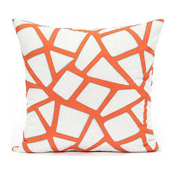 """Blooming Home Decor - Modern Persimmon Geometric Accent Throw Pillow Cover 20""""x20"""" - - 20"""" square"""