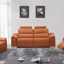 Colorful Sofas - Orange Italian Leather Sofa Set w/ Recliners