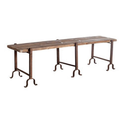 Recycled Elm Bench - Inspired from the adirondack style, this rustic bench is constructed from recycled elm, with a hammered-iron base. Its size gives it functionality and the looks give it a bold statement. Every bench will vary in color and size due to the craftsmanship.