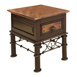 Artisan Home Furniture - Artisan Home Chair side Table with Copper Top - The firing gives the copper its many variations and makes each top a work of art. No two tops will match, but are finished to blend together. Lacquer finish gives protection and depth to the wood. Storage tables are an extra value. Completes the unique old world look.