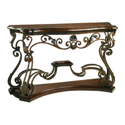 Lexington - Henry Link Bohemian Console - The serpentine hand-planed top features a parquet pattern of aged solid Mahogany, complimented by a solid Mahogany base. The intricate ironwork design is hand-forged and finished in antique brass with a slight texture to create a unique Old World patina. Decorative accents are solid brass using the lost wax process. Finish: Artisan's Mahogany.