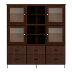 Howard Miller Custom - Holly Cabinet w 4 Doors in Espresso - This cabinet is finished in Espresso on select Hardwoods and Veneers, with Nickel hardware. 4 doors with ribbed Glass. 6 flat panel drawers. 2 cross storage shelf. 4 adjustable interior shelves. Flat profile top and metal leg base. Hardware: Nickel knobs on doors, and bar pulls on drawers. Features soft-close doors, metal drawer glides, and metal shelf clips. Simple assembly required. 70 1/2 in. W x 15 3/4 in. D x 76 3/4 in. H