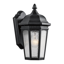 Kichler Lighting - Kichler Lighting Courtyard Traditional Outdoor Wall Sconce X-TKB2309 - Uncluttered and traditional, this 1 light outdoor wall lantern from the Courtyard&trade: collection adds the warmth of a secluded terrace to any patio or porch. Featuring a Textured Black finish and Etched Seedy Glass, this design will elevate and enhance any space.