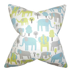 """The Pillow Collection - Carleton Animal Print Pillow Blue 20"""" x 20"""" - Fun and youthful, this accent pillow is the perfect statement piece in your home. This throw pillow features an animal print pattern in shades of blue gray, green and white. Use this decor piece to bring style and comfort to your living room or bedroom. Crafted using 100% soft cotton fabric. Made in the USA."""