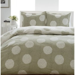 City Scene Raindance Mini Bedding Set - Outfit your bed in contemporary style with the City Scene Raindance Mini Bedding Set. Crafted of 100 percent cotton this set features a contemporary stippled polka dot theme in sage and white. Available in a variety of sizes and as a mini comforter set or a mini duvet set. Bedding Set Components: Twin: Duvet 1 standard sham Full/Queen: Duvet 2 standard shams King: Duvet 2 king shams Duvet Dimensions: Twin: 88L x 68W inches Full/Queen: 88L x 88W inches King: 88L x 104W inches About City Scene:City Scene bedding will add sophisticated style to your bedroom. Unique patterns vivid colors quality materials and attention to detail help City Scene's bedding products give your room a designer flair. And their careful craftsmanship means their bedding will keep your room beautiful for years.