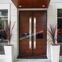 Modern front entry doors / contemporary front entry doors - Solid wood modern entry door with glass and custom made stainless steel pulls