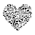 Dana Decals - Music Notes Heart Wall Decal - Ideal for homes, kids rooms, and schools.