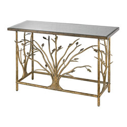 Sterling - Sterling 114-95 Gold Leafed Metal Branch Console Table With Antique Mirrored Top - Sterling 114-95 Gold Leafed Metal Branch Console Table With Antique Mirrored Top