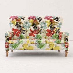 Battersea Sofette, Bloom - Yowzah! It seems I just advocated buying a versatile neutral sofa in another description a minute ago, this pop floral rosette is irresistible. It will enliven any space, from a lofty wide open living room to a bedroom.