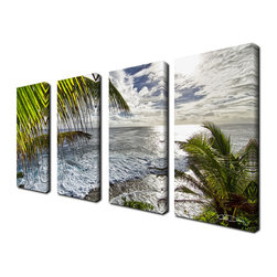 Ready2HangArt - Ready2hangart Chris Doherty 'Palms View' 4-piece Canvas Wall Art - The 'Palms View' 4-piece canvas art set depicts a birds eye view of the luminous seas through the island palms. This 4-piece set features a tropical theme and is gallery-wrapped canvas for a contemporary look.