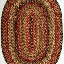 """Homespice Decor - Braided Kingston Oval 2'3""""x3'9"""" Oval Beige-Red Area Rug - The Kingston area rug Collection offers an affordable assortment of Braided stylings. Kingston features a blend of natural Beige-Red color. Machine Made of 99% Jute  1% Polyester the Kingston Collection is an intriguing compliment to any decor."""