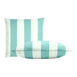 "Cushion Source - Bistro Waterworks Outdoor Throw Pillow Set - The Bistro Waterworks Outdoor Throw Pillow Set consists of two 18"" x 18"" throw pillows featuring classic bistro-inspired stripes in white and aqua."