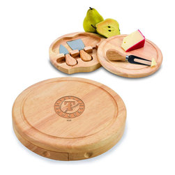 "Picnic Time - Texas Rangers Brie Cheese Board Set in Natural - The Brie cheese board set is the perfect sized accessory for a small party or get-together. The board is a 7.5"" swivel-style, split level circular cutting board made or eco-friendly rubberwood that swings open to reveal the cheese tools housed under the board. The three stainless steel cheese tools have rubberwood handles. Tools included are a hard cheese knife, a chisel knife (hard crumbly cheese), and a cheese fork. A carved moat surrounds the perimeter of the board which helps to prevent brine or juice run-off. The Brie makes a delightful gift.; Decoration: Laser Engraved; Includes: 3 Stainless steel cheese utensils (1 hard cheese knife, a chisel knife (hard crumbly cheese), and cheese fork) with wooden handles"