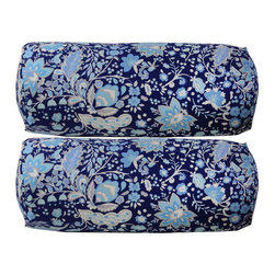 Pair of Navy Floral Bolsters - Use this pair of navy linen bolsters on a bed with all white bedding for an instant facelift for your bedroom.