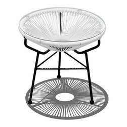 Harmonia Living - Acapulco Patio Side Table and Ottoman, White Lightning - This pretty outdoor piece has plenty of function to match its stylish form. Inspired by woven furniture from the '50s and '60s, this modern update features a glass top that creates a table for your beverage or book, plus a comfy cushion that transforms it into an ottoman. However you use it, it's chic, durable addition to your backyard.