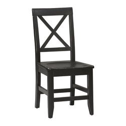Linon - X-Back Dining Chair in Antique Black Finish - Casual elegance and refined accents define this Dining Chair from the Anna Collection.  Unique single-X back frame offers ventilation and superior comfort.  Contoured seat nestles you into place and adds extra comfort.  Front legs feature exclusive mirrored tapered design.  Stunning Antique Black finish adds alluring appeal. Anna Collection. Unique single X back. Contoured seat for extra comfort. Solid and durable construction from solid Pine. No commercial usage. Minimal assembly required. 18 in. Seat Height. 20.75 in. L x 17.25 in. W x 36.65 in. H (24.25 lbs.)Whether your decor is traditional or modern the stunning Antique Black finish with red rub through on the Anna Dining Chair will blend seamlessly into your dining area. The dining chair features a unique single X back and a contoured seat for extra comfort. Chic, clean and contemporary  this chair is certain to enhance your dining area with its casual elegance.