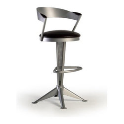 "Createch - Cadet 30"" Barstool - Features: -Bar height barstool. -Cadet collection. -Heavy gauge steel construction. -Contemporary bar stool with upholstered back and seat 17"" round. -Large choice of fabrics is available. -Ultra resistant construction. -Nice choice of metal color. -Handle part in solid birch wood. -Many wood colors are available. -Environment friendly production process, non - toxic paint and fabrics. -High temperature baked powder coating finish insure long - lasting. -360 degree swivel system install in the stool base. -Fire retardant high density foam. Specifications: -UPS quick ship program 5 - 10 days. -High quality made in North America. -Minimal assembly required (Seat on base). -Efficient welding joints warranty for five years. -Seat Height: 30"". -Overall dimensions: 41.25"" H x 22"" W x 21.5"" D."