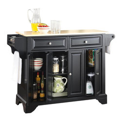 Crosley Furniture - Crosley Furniture LaFayette Natural Wood Top Kitchen Island in Black - Crosley Furniture - Kitchen Carts - KF30001BBK - Constructed of solid hardwood and wood veneers this kitchen island is designed for longevity. The beautiful raised panel doors and drawer fronts provide the ultimate in style to dress up your kitchen. Two deep drawers are great for anything from utensils to storage containers. Behind the four doors you will find adjustable shelves and an abundance of storage space for things that you prefer to be out of sight. Style function and quality make this mobile kitchen cart a wise addition to your home.