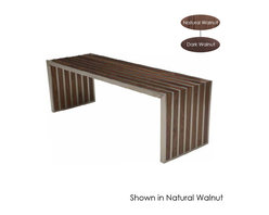 Nuevo Living - American Amici Bench, Dark Walnut - Design mavens are lining up for this beautifully made bench. Brushed stainless steel meets American walnut for a sublimely simple, stylish piece that complements your favorite modern setting.