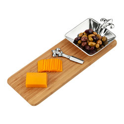 Arthur Court - French Lily Bamboo Cheese Set - Serve up your impeccable style with this aluminum and wood three-piece set. The knife and bowl boast a streamlined update on the fleur-de-lis pattern, ideally suited to your traditional decor.