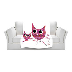 DiaNoche Designs - Fleece Throw Blanket by Susie Kunzelman - Owl Argyle Pink - Original Artwork printed to an ultra soft fleece Blanket for a unique look and feel of your living room couch or bedroom space.  DiaNoche Designs uses images from artists all over the world to create Illuminated art, Canvas Art, Sheets, Pillows, Duvets, Blankets and many other items that you can print to.  Every purchase supports an artist!